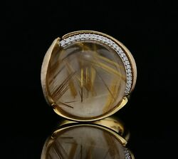 Ole Lynggaard Big Size Lotus Ring 18K Gold with Diamonds & Quartz - A1196