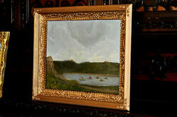 Old Oil Painting of a Viking Invasion $1500.00