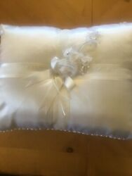 Wedding Pillow Cushion Bridal Satin Party White Floral Decoration Fr 17