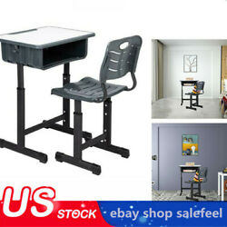 Adjustable Students Children Desk and Chairs Set Black Density Board