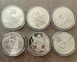 World of Dragons - 4 BU Silver Rounds - Aztec Welsh Chinese Norse - in Capsules