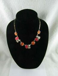 Red Orange Frosted Lucite Rhinestone Gold Tone Fashion Costume Necklace
