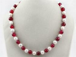 7-8mm White Freshwater Pearl and Red 8mm Ruby Round Beads Necklace 18