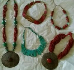 LOOK! Bid Today on 5 Ethnic IndianTribal Necklaces: Turquoise Coral Silver...