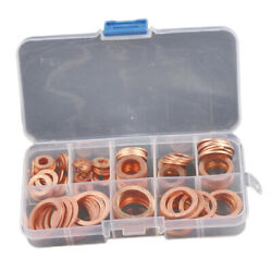 120pcs Assortment Copper Washers Sump Plug Set with Plastic Box Kit 8 Sizes $15.87
