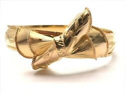 24K Yellow Gold Bow Bangle Bracelet Size 6