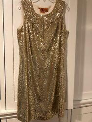 Tory Burch Kylie Dress Gold Sequin Size 8