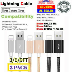 3Pack 6Ft Lightning Cable Heavy Duty For iPhone 8 7 6 Plus Charger Charging Cord