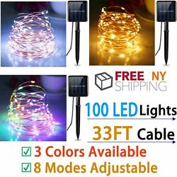 100 LED Solar String Fairy Lights Waterproof Outdoor Party Decoration 8 modes