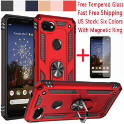 For Google Pixel 3a3a XL Shockproof Magnetic Armor Case Cover+ Metal Ring Stand