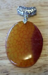 Beautiful Red Yellow Dragon Veins Agate Oval pendant 46x34x6mm P
