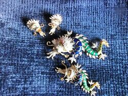 RARE LARGE VINTAGE BUTLER & WILSON DRAGONS ENAMELED BROOCHES & EARRINGS SET