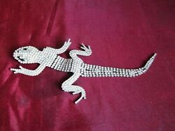 RARE VINTAGE BUTLER & WILSON LARGE RHINESTONE LIZARD BROOCH PIN unused