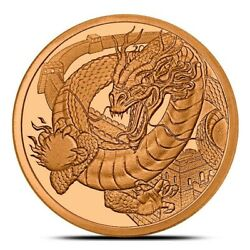 1 oz Copper Round - The Chinese  World of Dragons Series