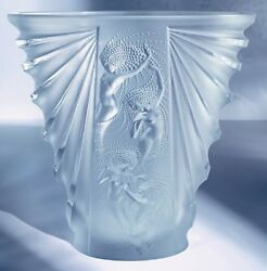 Lalique Vase Crystal Nude Nudes Frosted Women Female Ladies Sea Nymphs Naïades
