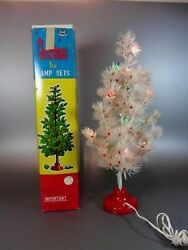 Vintage Plastic White Christmas Tree Lamp Sets Made TUMI Hong Kong 60#x27;s New Box C $89.00