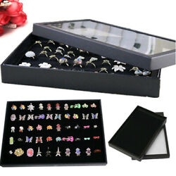 100Ring Jewelry Organizer Box Holder Case For Ring Earring Storage Display Black