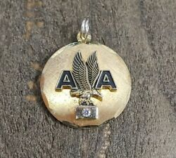 American Airlines Yellow Gold Plated Cubic Zirconia Service Pendant