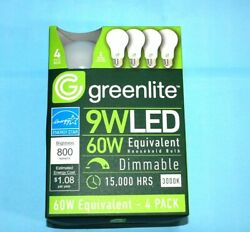 NEW 4 Pack LED 9W Dimmable Light Bulb Standard Type A 60W Equivalent $8.99