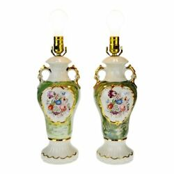 Victorian Style Ceramic Table Lamps A Pair $395.00