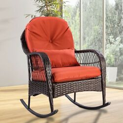Garden Patio Wicker Rocking Chair WCushion For An Ideal Sitting Position