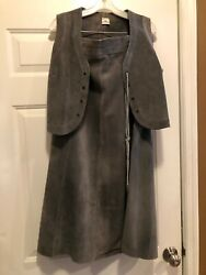 Vintage Suede Leather Skirt and Vest Made in Argentina. Size 42 = Size 12 USA $59.00