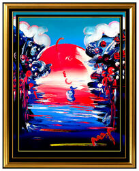 PETER MAX Original Signed PAINTING BETTER WORLD Pop ART Acrylic Oil Iconic LOVE $4695.00