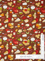 Wine Cheese Italian Kitchen Toss Brown Timeless Treasures Gail C5597 By The Yard $11.95