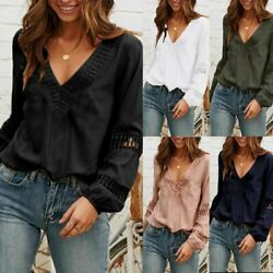 US Women Ladies Summer Lace Long Sleeve Blouse Casual Loose T Shirt Tops Hot $12.99