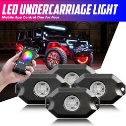 RGB LED Rock Light Wireless Bluetooth for Offroad Truck ATV Multi-color 4-Pods
