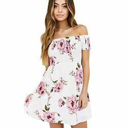 FUNIC Women Beach Mini Dress Off Shoulder Floral Printed Casual Evening Party M