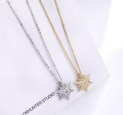 Eight-Pointed Hexagon Star 925 Sterling SilverGold Pave CZ Pendant Necklace