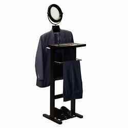 Men's Suit Valet Stand Butler Clothes Storage Shoe Organizer Mirror Wooden Brown