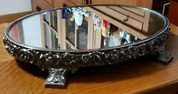 Vintage Reed & Barton Silverplate Repousse Mirror Plateau Stand Dresser Tray 188