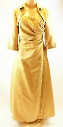 Isabella Collection Strapless Party Prom Embellished Gold Gown Dress Small As Is $60.49