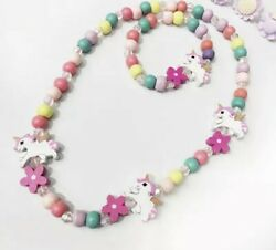 Set Of Wooden Unicorn Necklace And Bracelet For Little Girls