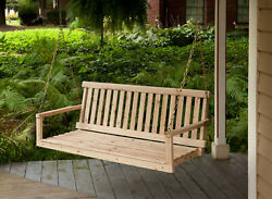 Wooden Porch Swing 4ft Natural Wood Patio Outdoor Yard Garden Bench Hanging New