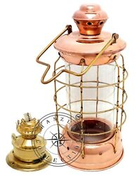 18quot; Nautical Brass amp; Copper Polished Anchor Lantern Hanging Cargo Ship Oil Lamp $119.99