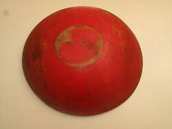 ANTIQUE PRIMITIVE WOODEN BOWL RED PAINT 11