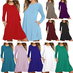 Women Autumn Long Sleeve Short Dress Casual Tunic Swing Shirt Dress With Pocket