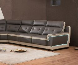 Large Sectional Sofa Set Loveseat Chair Corner w LED Lights Cushion Couch Gray