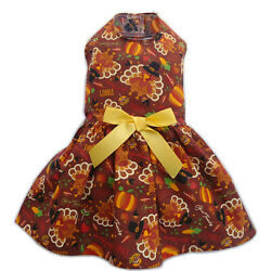 Turkey Thanksgiving Dog Dress Little Dog Clothes Size M S XS XXS XXXS