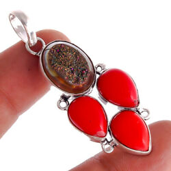 Titanium Druzy Red Coral Ebay Store Jewelry Gemstone Pendant 1.5'' to 2.5'' ak5