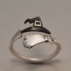 Halloween Ghost Witch Broom Finger Ring Open Rings Party Cosplay Retro Jewelry