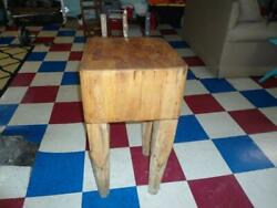 ANTIQUE BUTCHER BLOCK TABLE Plus CUTCO KNIFE & MEAT CLEAVER Nice Country Kitchen