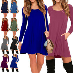 Women Long Sleeve Side Pockets Fall Tunic A-Line Swing T-Shirt Casual Mini Dress
