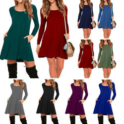 Women Long Sleeve Shirt Casual Flared Swing Top Blouse Short Mini Dress Pockets