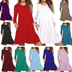 Womens Autumn Long Sleeve Round Neck T-Shirt Dress Plain Swing Loose Pullover US