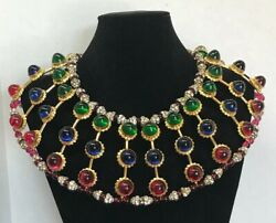 William DeLillo Gold Red Blue Green Crystal Art Glass 5 Row Bib Runway Necklace
