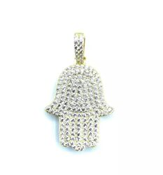Sterling Silver 925 Yellow Gold Plated Hamsa Cubic Zirconia CZ